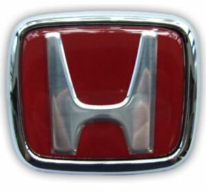 RED FRONT H-BADGE PAIR TO STANDARD FIT 1988-00' HONDA CARS- CARBON CULTURE BRAND