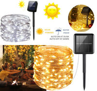 200LEDs Solar Fairy Lights Outdoor String Lights Garden 8 Modes Copper Wire Xmas