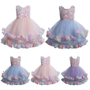 Flower Girls Wedding Party Tutu Dress Bridesmaid Pageant Princess for Kids Gown