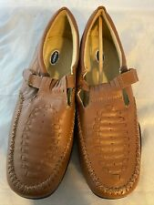 NEW DR. SCHOLL'S Double Air Pillo Brown Leather T-Strap Loafer, Size 8.5 W