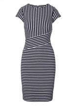 Banana Republic Navy Blue White Striped Sheath Dress Size 8