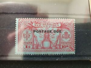 New Hebrides 1925 10d (1fr) carmine/blue postage due, centred NE, hinged mint