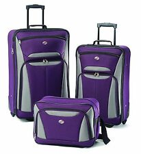 Complete Luggage Set Rolling 2 Suitcases and 1 Computer Bag Flight Travel Purple