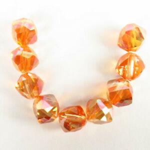 9Pcs/Set Faceted Orange Titanium crystal Tumble Pendant Bead 9x8x8mm F85875