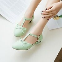Womens Round Toe Bowknot T-Strap Mary Jane Pumps Flat Low Heel Casual Shoes Size