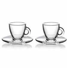 4 Pc Blown Glass ESPRESSO COFFEE SET -2 Cups & 2 Saucers -Double Wall, Tea Set
