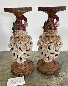"""Rare 12"""" Santa Carved Pierced Candle Holders Pedestal Log Valerie Parr Hill"""