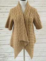 Calypso St. Barth Cardigan Cable Yali Tan Size Medium Asymmetric Draped Sweater