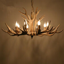 6/8 Light Retro Deer Horn Chandeliers Resin Antler Pendant Lamp Lighting Fixture