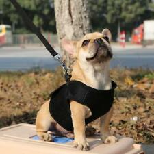 Pet Puppy Dog Soft Mesh Cloth Walking Collar Strap Harness Vest Black Size XS-XL
