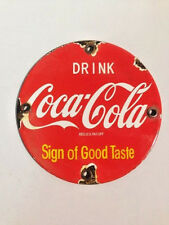 "Vintage Round 5"" Porcelain Drink Coca Cola SOGT Door Push Pull Enamel Metal Sign"