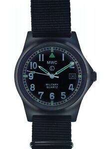 MWC Black PVD G10 166ft Water Resistant Military Watch on Military Webbing Strap