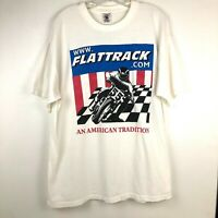 Flat Track Mens T Shirt Cotton Motorcycle Graphics White Size X Large XL