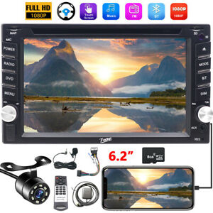 Backup Camera+GPS Double 2Din Dash Car Stereo Radio DVD mp3 Player BT with Map