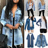 Women Denim Cotton Jacket Casual Jeans Long Sleeve Coat Tops Outwear Plus Size