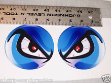 BLUE  NO FEAR EYES VINYL DECAL PAIR SHOTGUN AIR INTAKE HOOD SCOOP BUG CATCHER