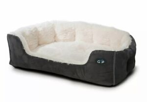 Grey Puppy Dog Suede Faux Fur Snuggle Bed Gor Pets Nordic Washable Cat Basket