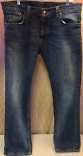 """NUDIE Mens Jeans """"Thin Finn"""" Dry Organic Cotton Midnight Worn Sz 36 x 30 $179"""