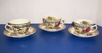 Johnson Bros Friendly Village Ice House 3 Tea Cups & 3 Saucers England Crazing