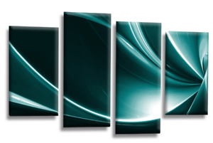 Le Reve Abstract Canvas Wall Art Teal Grey White Large Picture Split Panel