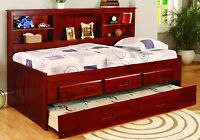 Kid's Twin or Full Captain's Daybed with Bookcase, Trundle, & Storage Drawers