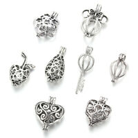 8Pc Mixed Pearl Cage Locket Pendants Vintage Aromatherapy Essential Oil Diffuser
