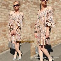 Zara New Floral Printed Linen Dress Size S UK 10 12