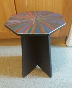 Vintage Hand crafted, Hand Painted Star Burst Octagonal Top Coffee/Lamp Table