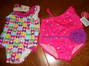 THE CHILDREN'S PLACE & OLD NAVY HEARTS/BUTTERFLIES LOT OF 2 SWIMSUITS-3/6M- NWT