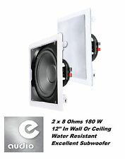 "e-audio Water Resistant 12"" In Wall / Ceiling Sub-woofer (2x8Ohms 180W) #B415A"