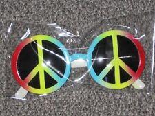 NEW Peace Sign Rainbow 60's 70's Retro Hippie Glasses Gr8 Fancy Dress Costume