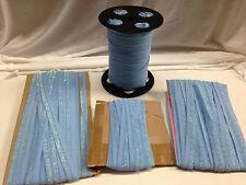 Lurex Fold Over Elastic Stretch Spandex - Over 100 YDS - Light Blue