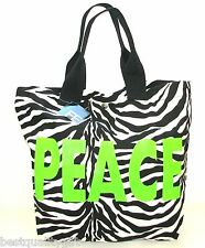 "NEW FASHION EXPRESS FABRIC ZEBRA BLACK+WHITE,NEON GREEN "" PEACE"" LOGO TOTE BAG"