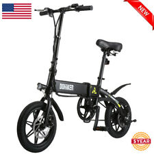 14 Inch Folding Electric Bicycle City Mountain E-Bike w/ LED Headlight USB 250W