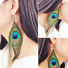 Dangle Earrings Pair Peacock Feather Drop