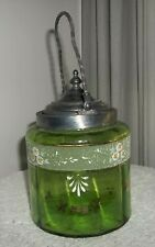 victorian GREEN clear GLASS w/painted flowers BISCUIT CRACKER JAR cvrd w/handle