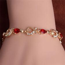 "womens red/clear cubic zirconia heart 7"" bracelet 14k gold filled"