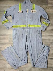 PBS Coals Red Kap Sanforized Vintage Striped Denim Jean Coveralls Coal Mining