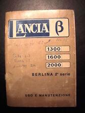 LIBRETTO DI USO E MANUTENZIONE PER LANCIA BETA 1300-1600-2000 2^SERIE  ANNO 1975