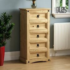 CORONA 5 DRAWER NARROW CHEST Mexican Solid Waxed Pine Bedroom Storage Unit