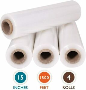 "4 Rolls 15"" x 1500 Ft Stretch Wrap Heavy Duty, Industrial Strength Shrink Wrap"