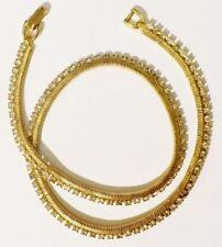 Beau collier bijou vintage maille chaine cristaux diamant couleur or poli * 4032