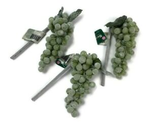 Sparkly Frosted Artificial Grapes 3 Bunches of Snowy Green Holiday Grapes