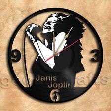 Janis Joplin Vinyl Record Clock Home Decoration Housewares Upcycled Gift Idea