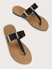 Shein Sandals Flip Flops Black Bow with Gold Bar Hardware sz 8