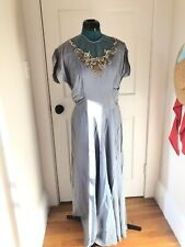 Vintage 1940s Blue Rayon Sequin Evening Gown Dress Formal Maxi 40s