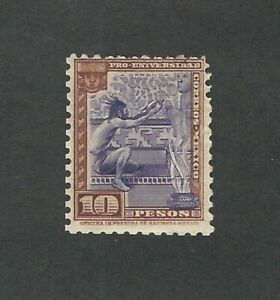 Mexico: 1934; Scott 706; 10 pesos worchiper hinged. LP104