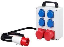 PCE Mobil stromverteiler 16A Drehstrom,4 Steckdosen + 2 CEE-Steckdosen