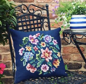"""Vintage Floral Tapestry Cushion With Pad Handmade VGC 14.5"""""""