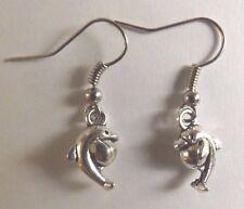 Boucles d'oreilles argentées dauphin avec ballon